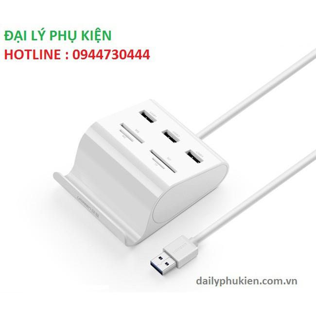 Bộ chia 3 cổng USB 3.0 dài 1m kèm đọc thẻ nhớ SD,TF Ugreen 30344