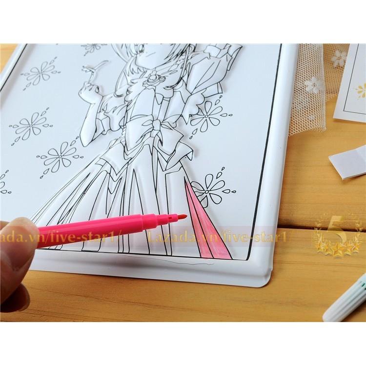Set 5 tranh tô màu 3D tặng kèm bút vẽ