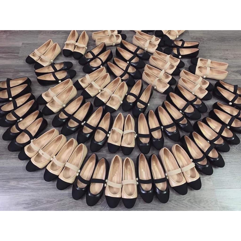 Giày mọi nữ thời trang mũi phối màu đen và kem có quai ngang siêu độc (ẢNH CHỤP THẬT)
