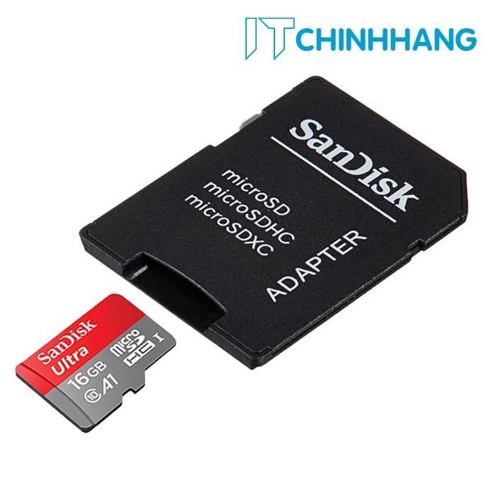 Thẻ Nhớ SANDISK Ultra 16GB Class10-98MB/s + ADAPTER - HÃNG PHÂN PHỐI CHÍNH THỨC