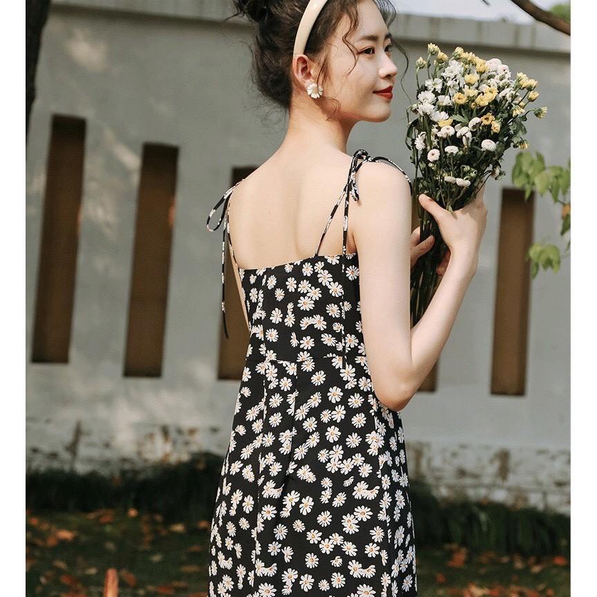 Đầm 2 Dây Nữ 🦋 Váy Hồng 2 Dây Hoa Nhí Vintage