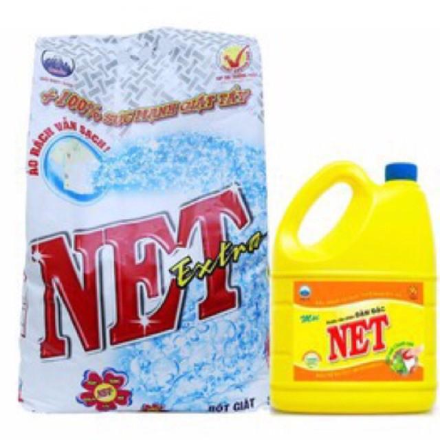 Bộ 1 gói Bột Giặt Net Extra 6kg + 1 Nước rửa chén 1.5Kg đậm đặc