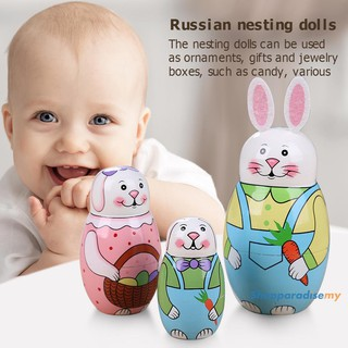 ♥DSP♥5 Layer Rabbit Nesting Matryoshka Doll Hand Painted Set Russian Doll Toy