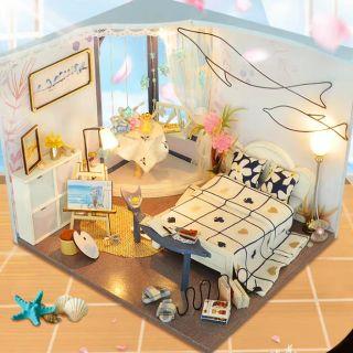 Mô hình nhà gỗ búp bê Dollhouse DIY – Kèm mica – TW27 Sea Color