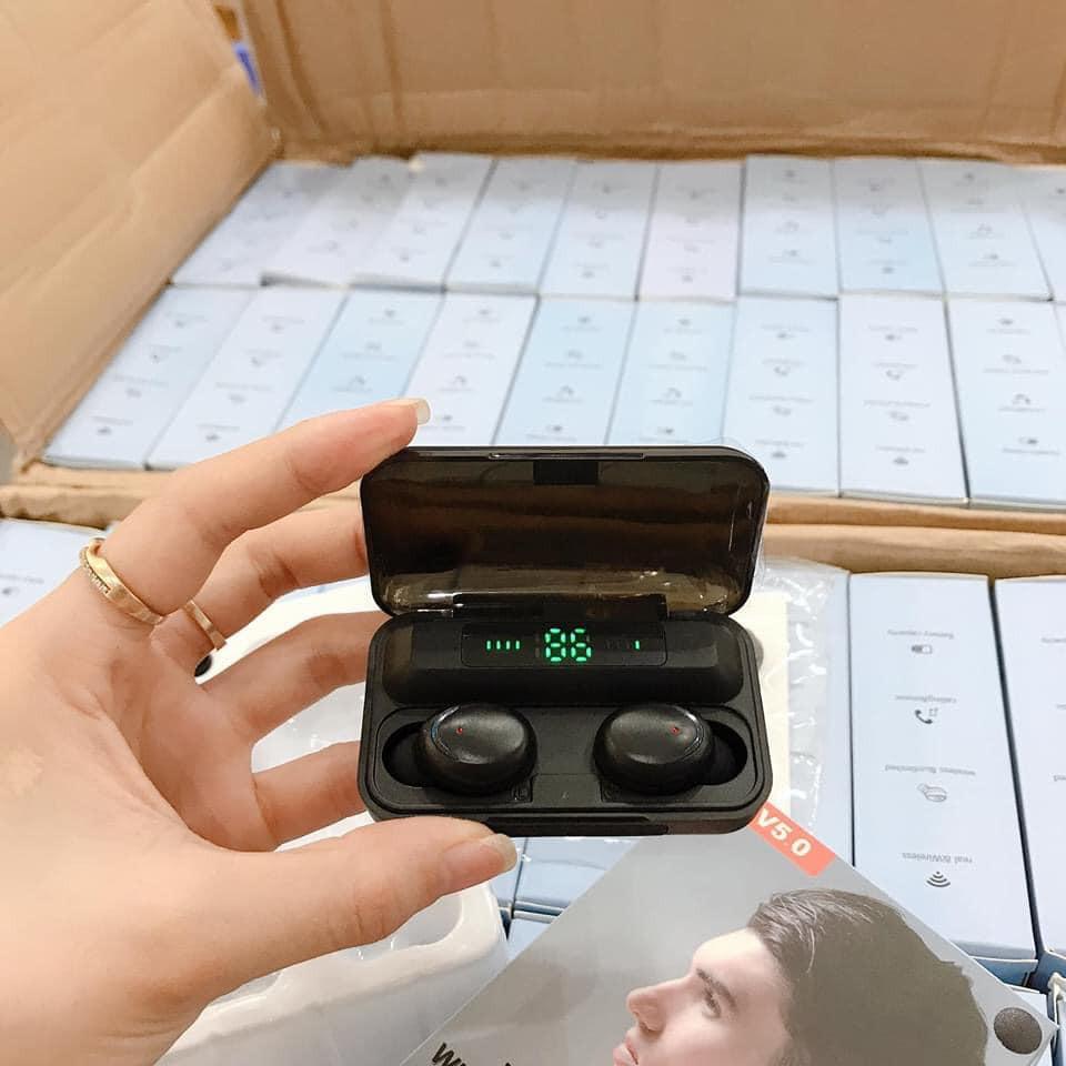 Tai nghe bluetooth F9 Amoi Pro cảm ứng, tích hợp sạc dự phòng