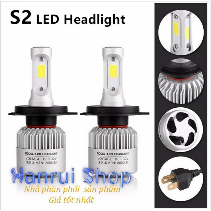 Đèn Led Headlight S2 siêu sáng Ô tô, xe máy - 8000Lm, 36W 9v-32v, Cos/pha trắng 6500k (Bộ 2 đèn - Ch