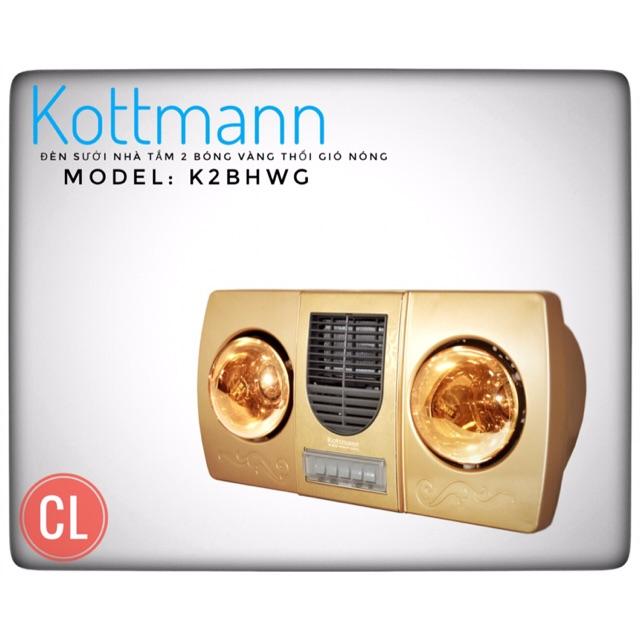 Hàng chính hãng - Đèn sưởi nhà tắm Kottmann 2 bóng thổi gió nóng K2B-HW-G