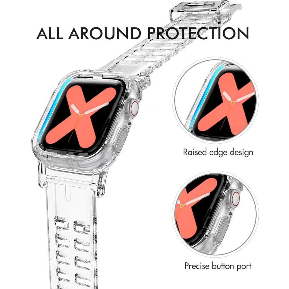 Dây Đeo Silicone Trong Suốt Cho Đồng Hồ Apple Watch 44mm 40mm 2 Trong 1 38mm 42mm Cho Iwatch Se 6 5 4 3 2 1