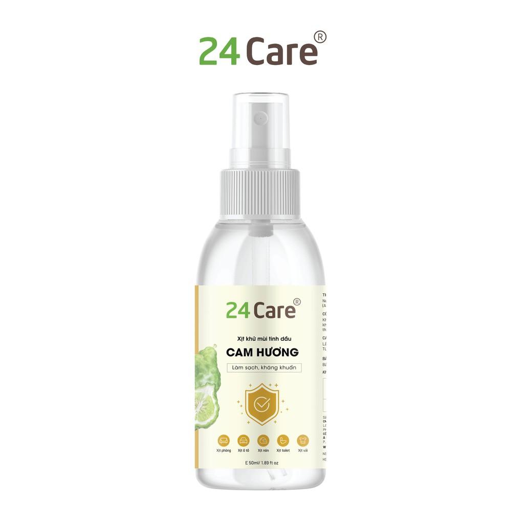 Xịt phòng tinh dầu Cam Hương 50ml 24Care - kháng khuẩn, khử mùi hôi, đuổi muỗi, côn trùng