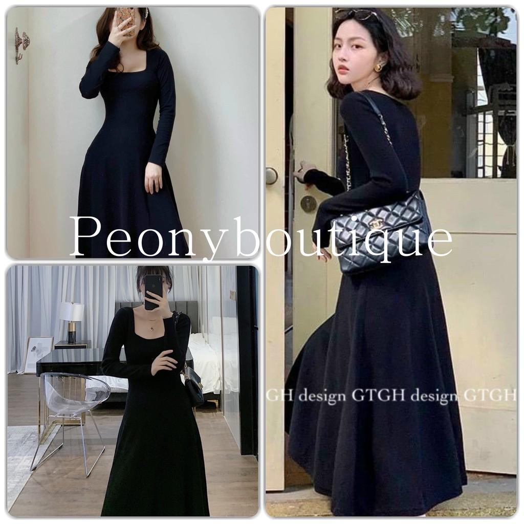 Váy Len Zip Hàn Cổ Vuông Nữ [FREESHIP] 🌸 Đầm midi body dáng xòe cổ U màu ĐEN | Nâu Ulzzang HOT 🌸
