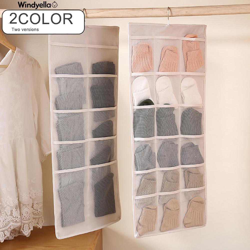 Nice>Dual-sides Wall Hanging Storage Pockets Bag Clothes Underwear