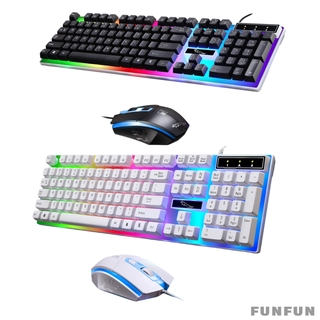 Gamer Wired Keyboard and Mouse Combo Rainbow Backlit for Laptop PC USB Professional Button Design