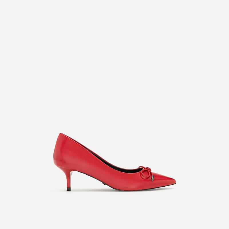 VASCARA - Giày Bít Mũi Nhọn Đính Nơ Thanh Lịch - BMN 0391 - Màu Đỏ Ā