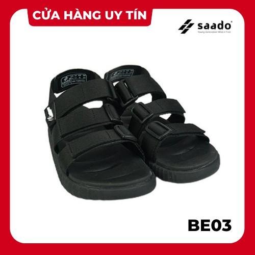 SANDAL SAADO | BE03 - Black Wolf - Màu Đen Trơn | Giày Sandal Nam Nữ Đi Học Basic