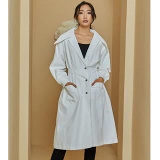 Áo măng tô trắng chun eo Elise thumbnail