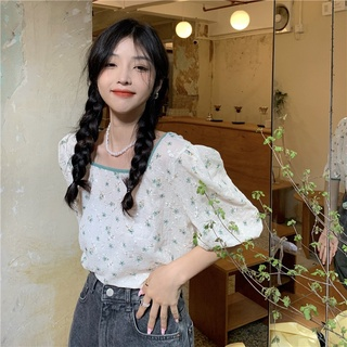 Summer New French Style Temperament Loose Sweet Floral Puff Sleeve Shirt Women's Design Square Collar Gentle Top
