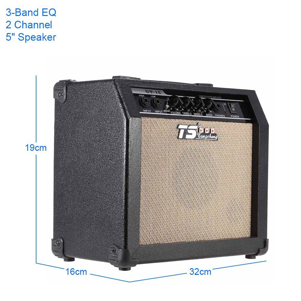 GT-15 Chuyên Nghiệp-Band EQ 2 Kênh Electric Guitar Amplifier Biến Dạng Amp 15 Wát với 5 'Loa