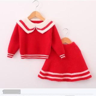 Set Váy len cổ bẻ bé gái lớn size 13-25kg (áo và chân váy) chất siêu mịn đẹp-HÀNG QCCC