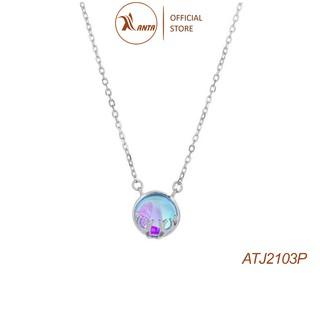 Dây chuyền mặt đá pha lê tròn phối sừng hươu thời trang ATJ2103P - ANTA Jewelry thumbnail