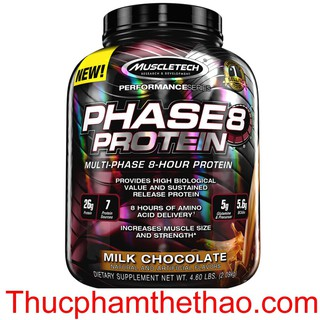 Sữa tăng cơ cung cấp Protein ban đêm PHASE 8 4.6LBS (2.1Kg) – VỊ CHOCOLATE – Hàng chính hãng USA – Kèm quà tặng