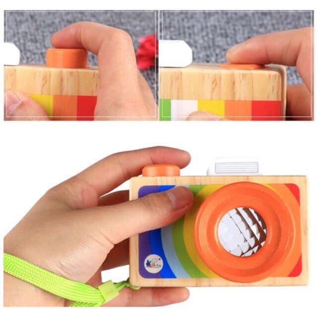 [ RẺ VÔ ĐỊCH]  Máy ảnh gỗ kính vạn hoa Đồ chơi phát triển kỹ năng cơ bản