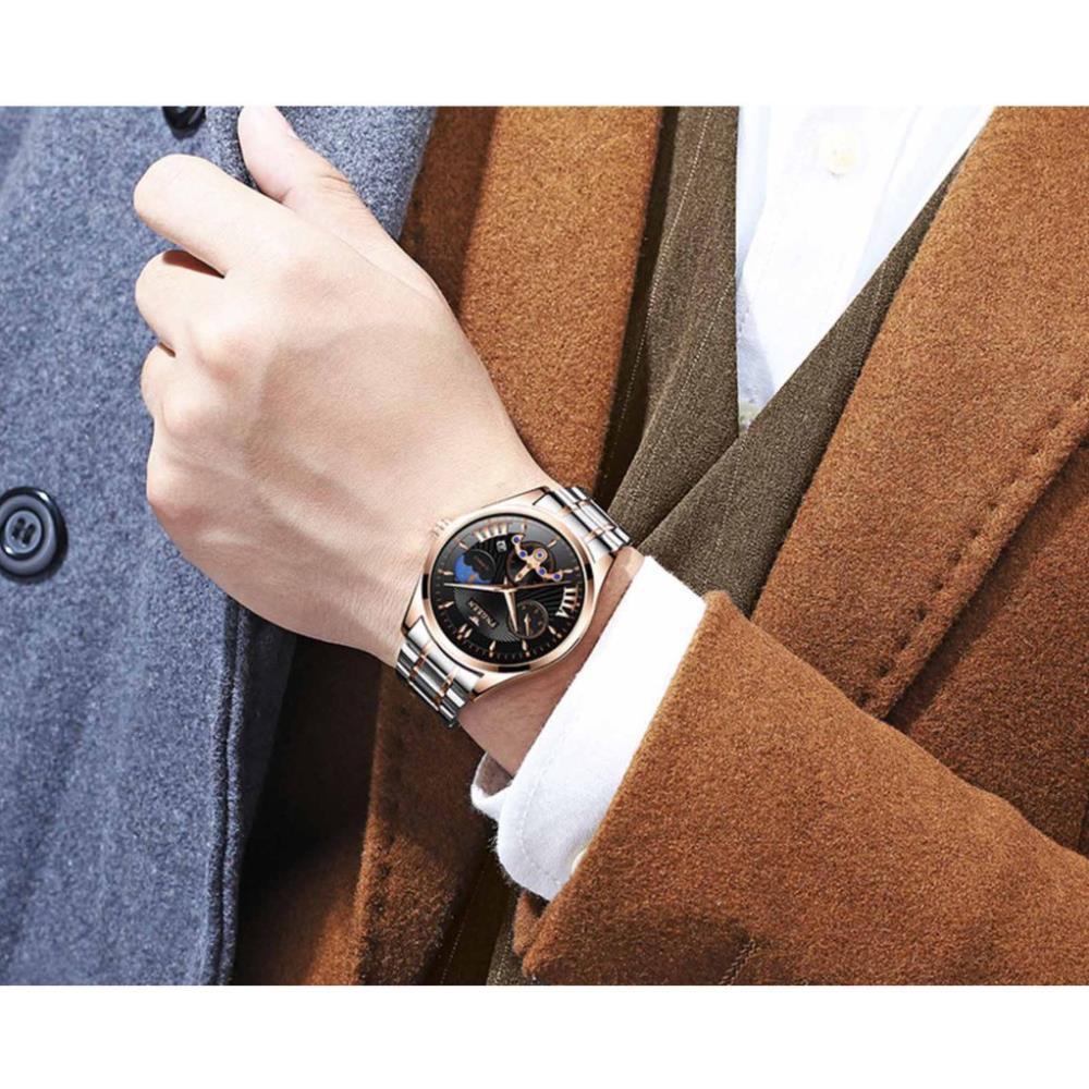 Đồng hồ nam chính hãng FNGEEN dây thép không rỉ, lên tay cực đẹp, giả cơ độc đáo ( Mã: FN61X)