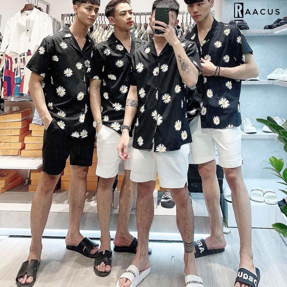 Áo sơ mi nam ngắn tay họa tiết hoa cúc Hàn Quốc đẹp, áo sơ mi nam tay lỡ chất lụa dáng unisex RAACUS-A120