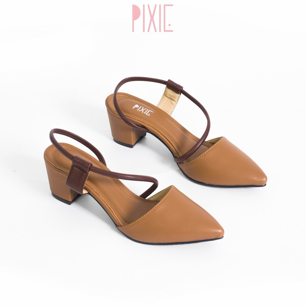 Giày Cao Gót 5cm Quai Hậu Tròn Mix Nhiều Màu Pixie P268