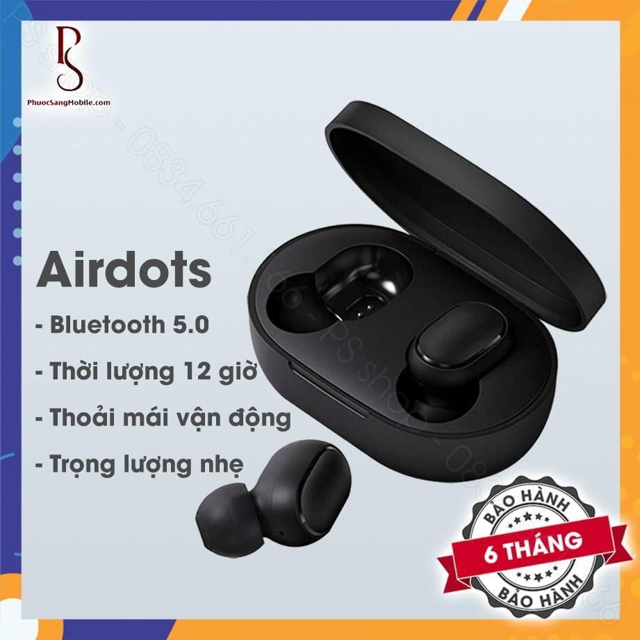 Tai nghe không dây Xiaomi - Redmi Airdots Đen - Bluetooth 5.0, Pin 12 tiếng kèm hộp, Phím cơ [BH chính hãng 6 tháng]