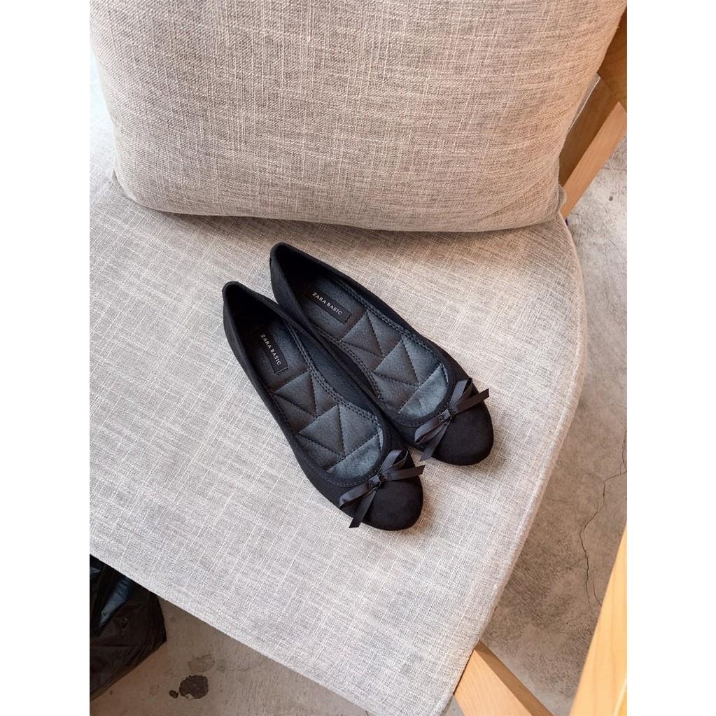 001777 Giày búp bê Zara Basic da lộn chần lót giảm chỉ còn 301,000 đ