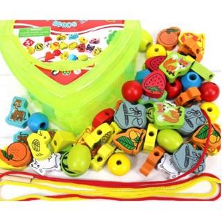 Đồ chơi xâu hạt gỗ hộp trái tim 55 chi tiết chọn chủ đề cho bé