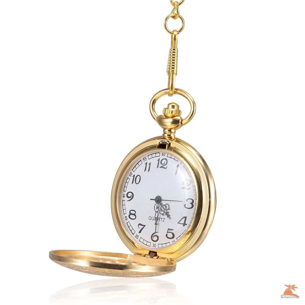 #Đồng hồ bỏ túi# 1pc Men Women Quartz Pocket Watch Golden Carved Pattern Case with Chain