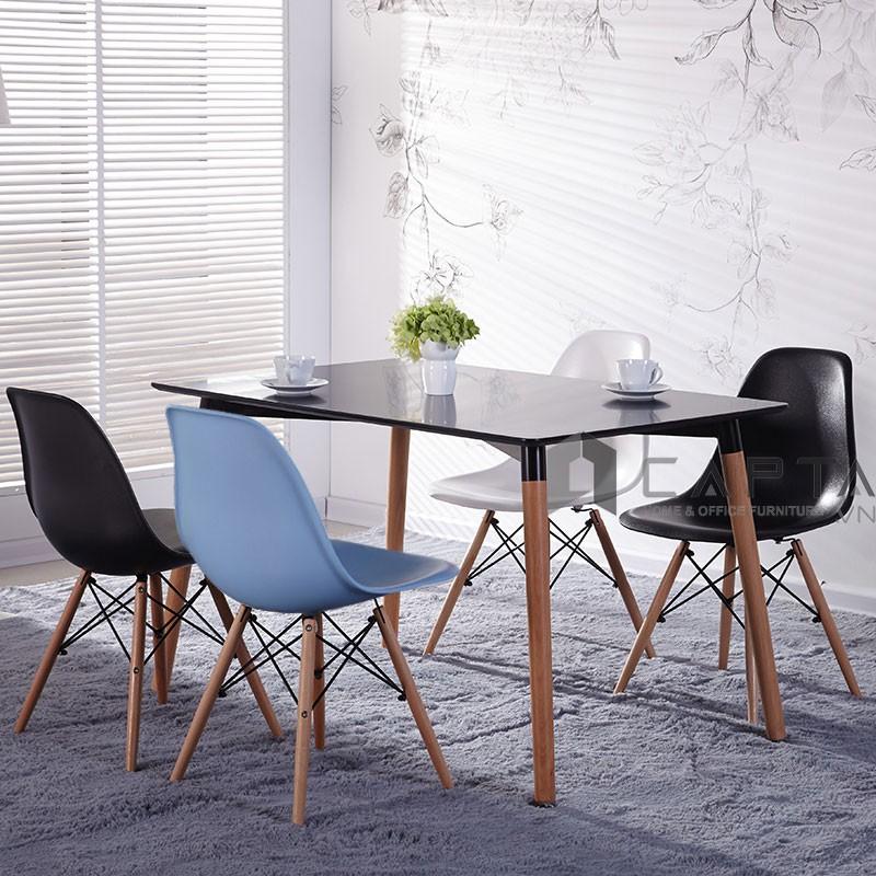 TE DAW DSW   Bộ bàn ăn chữ nhật 1m2 và 4 ghế nhập khẩu cho căn hộ