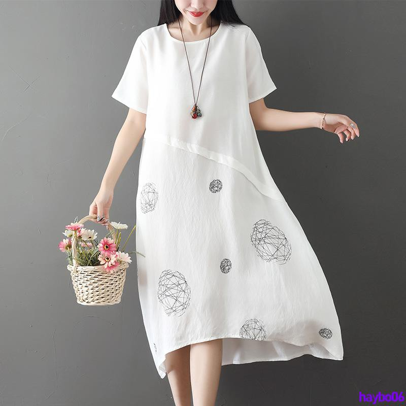 Full 250000 delivery large size women's 2019 summer new art 200 pounds fat mm loose thin cotton and linen dress ramie lo