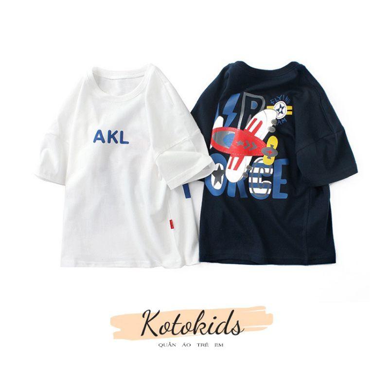 Áo phông cộc tay bé trai AKL, áo thun cotton bé trai in hình máy bay (3910)