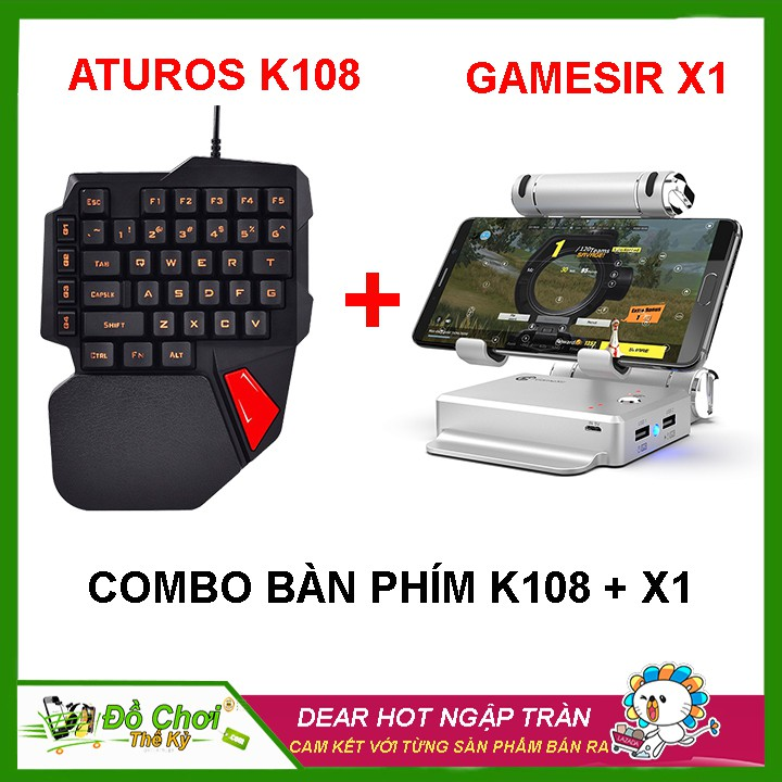 [ COMBO BÀN PHÍM K108 + DOCK X1 ] chơi game PUBG Mobile , AoV , Mobile  Legends , RoS, Knives Out, Free Fire