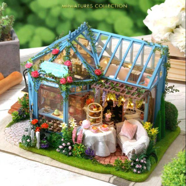 Kèm Mica và Nhạc – Mô hình nhà gỗ búp bê Dollhouse DIY – A068 Rose Garde Tea House
