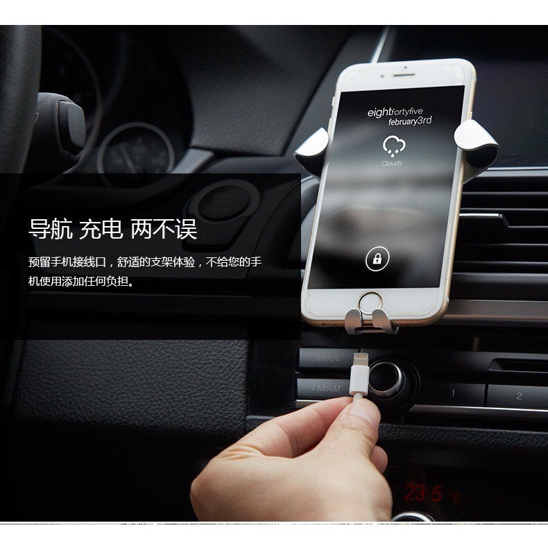 Giá đỡ kẹp điện thoại tự động khóa mở cài cửa gió điều hòa xe hơi (Đen-Bạc-Vàng)