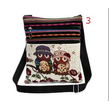 Túi đeo chéo họa tiết chim cú thổ cẩm thời trang