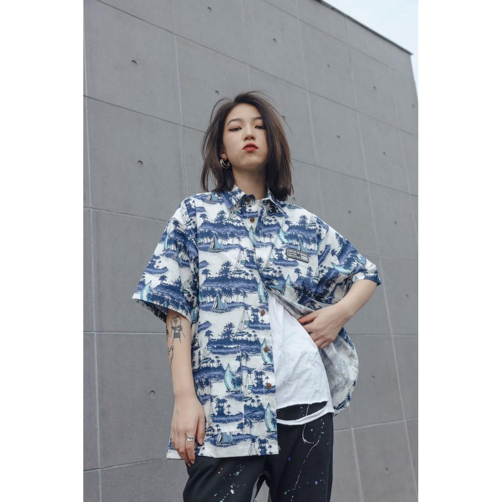 Sơ mi nam form rộng ngắn tay họa tiết Unisex, Áo sơ mi nam Hàn Quốc tay ngắn vải dày dặn RevoltClothes/21ss