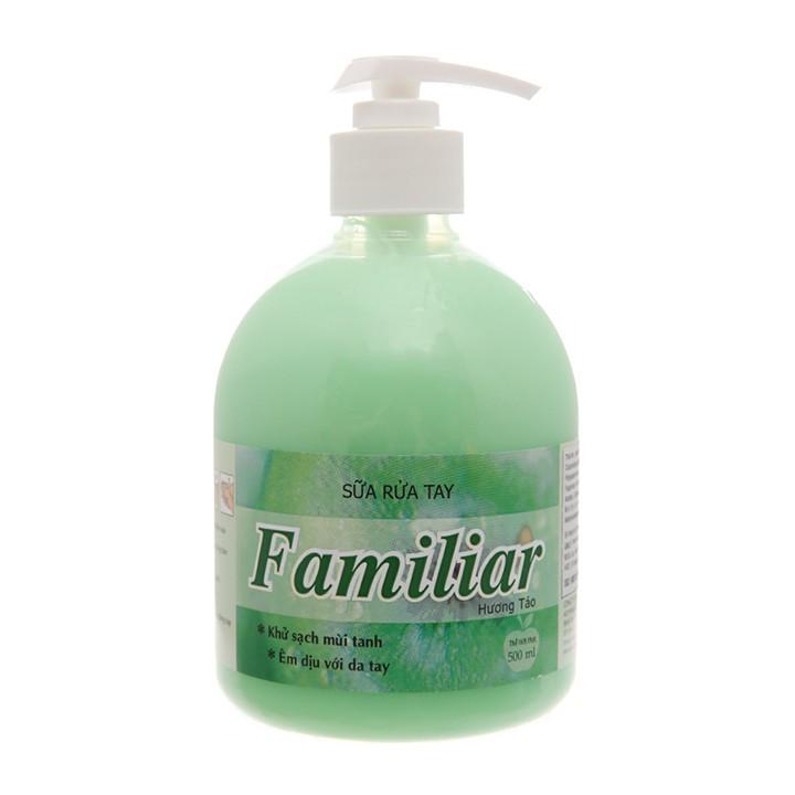Sữa rửa tay Familiar hương táo 500ml - kèm sữa tắm ngọc trai 5g