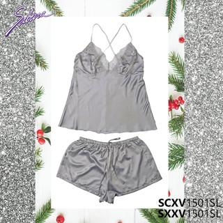 Bộ Đồ Ngủ Sexy Viền Ren Màu Xám Gorgeous By Sabina SCXV1501SL+SXXV1501SL thumbnail