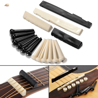 XQ Guitars accessorie 1 Set – 6 Guitar Bone Bridge Pins + 1 Saddle Nut for Folk Acoustic Guitar @VN