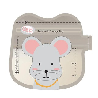 (Mẫu mới) Túi trữ sữa GB Baby 200ml có vòi rót hình bé chuột đáng yêu (32 túi/hộp)