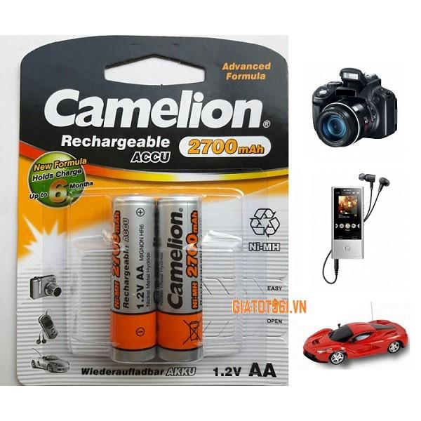 Pin Sạc máy ảnh, điều khiển Camelion 1.2V AA 2700 mAh ( Vàng/ vỉ 2 viên )