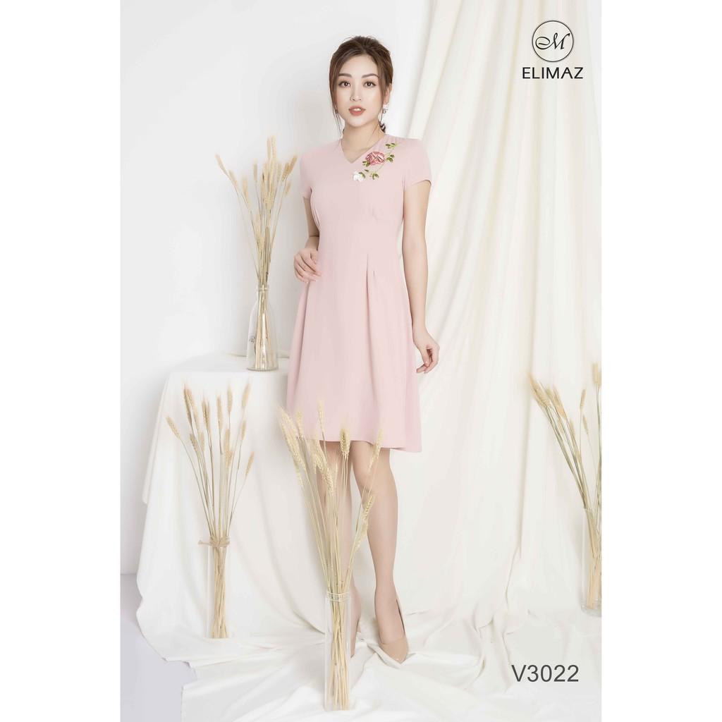 Đầm xòe cổ V thêu - Hồng - V3022