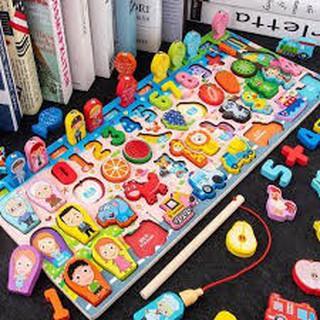 Combo 5 bộ đồ chơi bảng số câu cá bằng gỗ