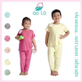 Bộ đồ quần dài tay ngắn vải Modal gỗ Sồi cho bé trai và bé gái size lớn từ 12kg-32kg (1 tuổi-7 tuổi) đồ dài trẻ em