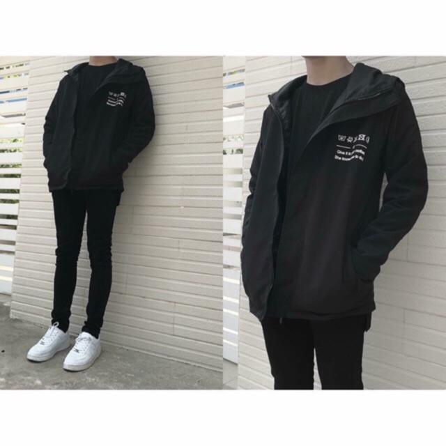 Áo khoác kaki màu đen siê