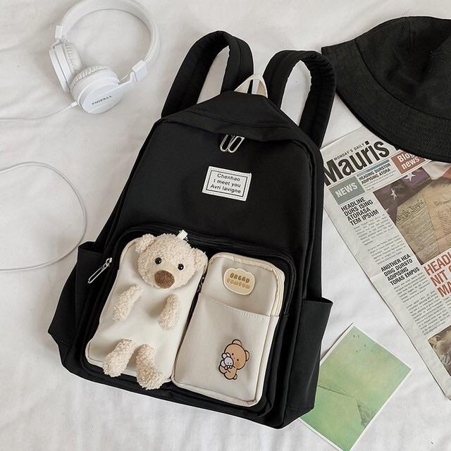 Balo 2 túi kèm gấu siêu đẹp